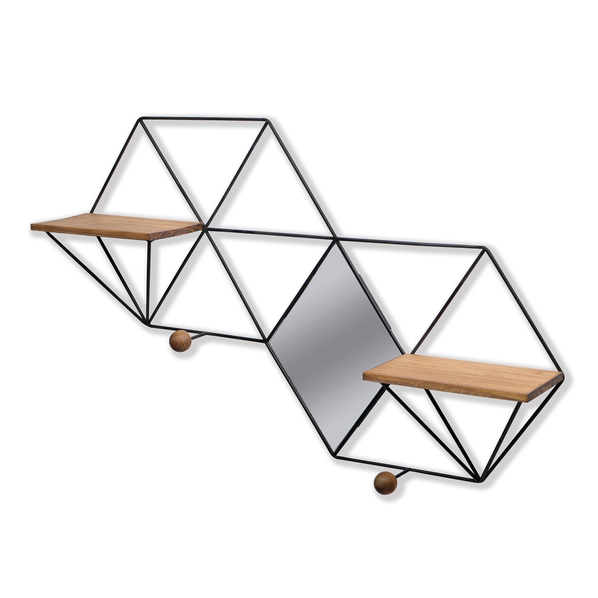 Prateleira de madeira com ferro e espelho
