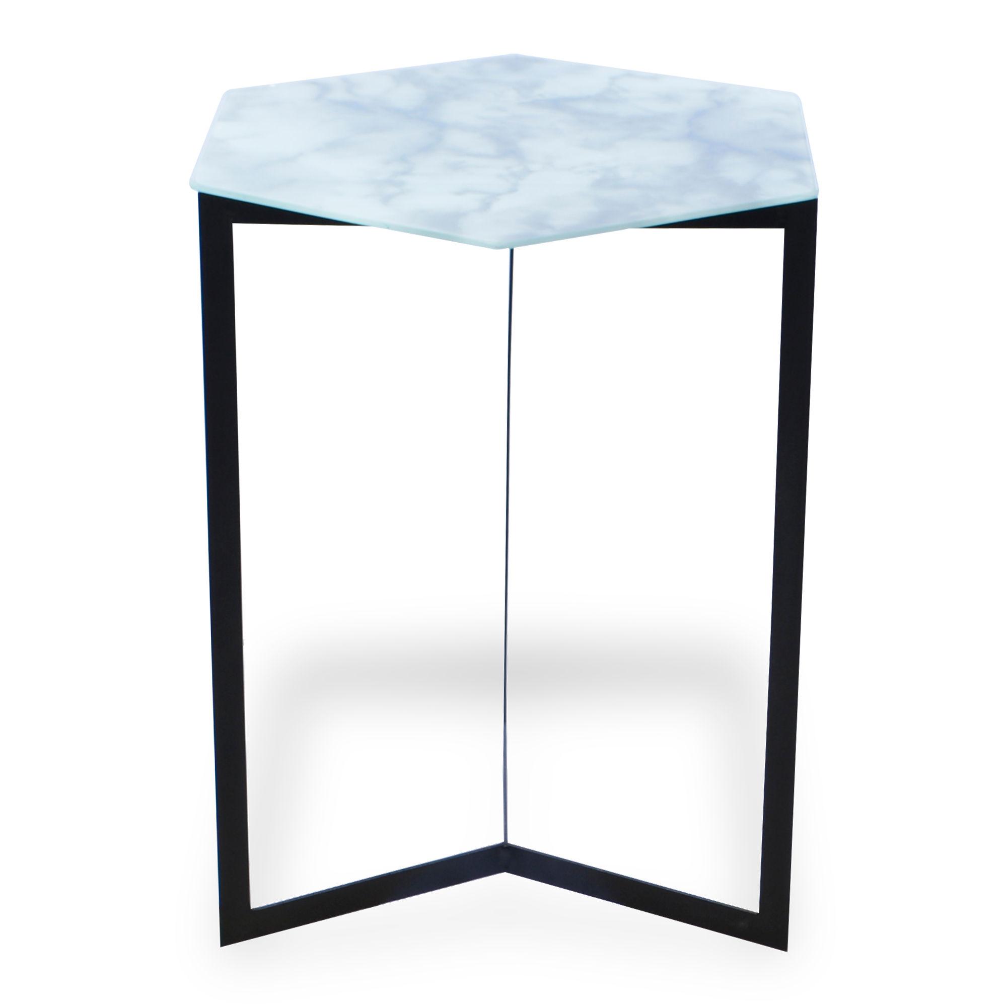 Mesa de ferro com vidro Marmorizada