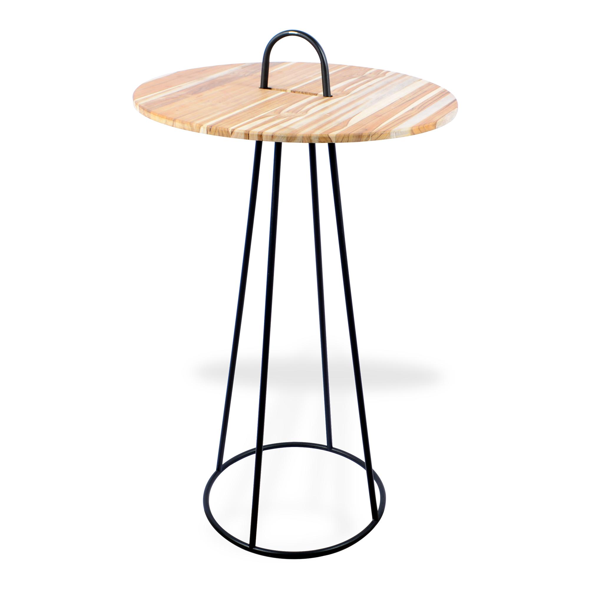 Mesa bistrô de ferro com madeira