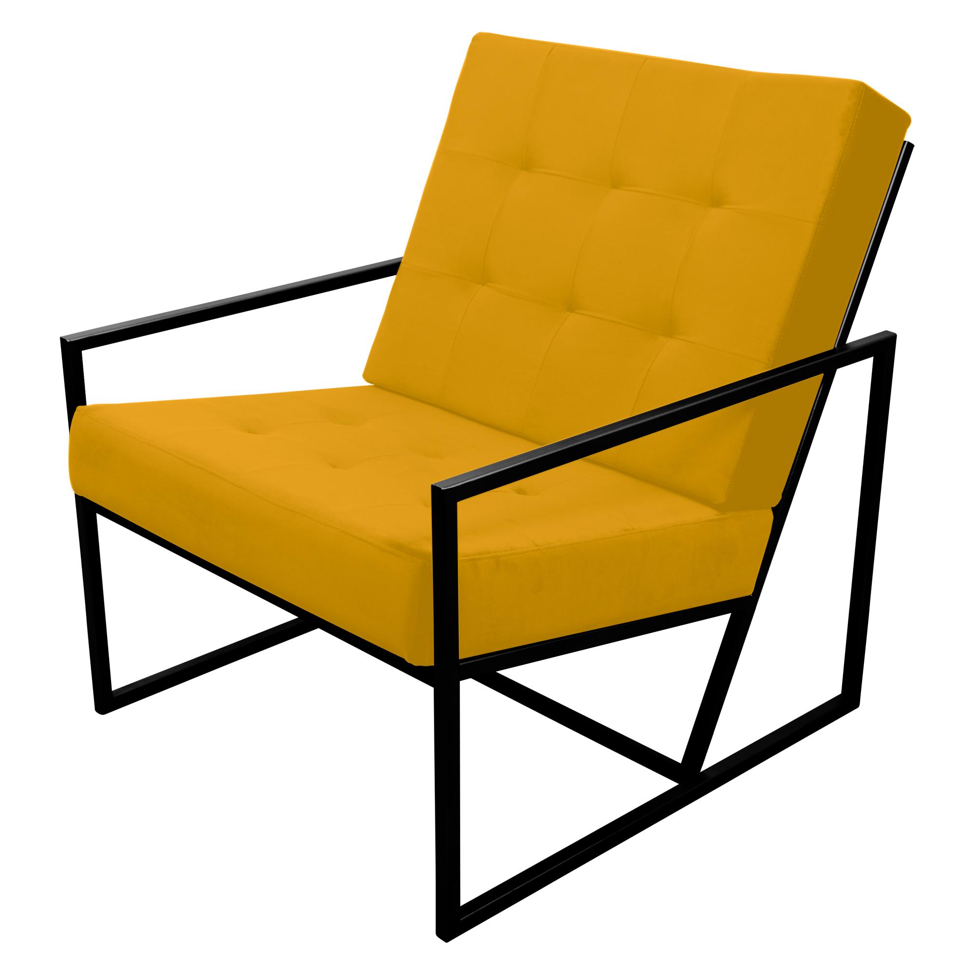 Poltrona de ferro preto com tecido amarelo