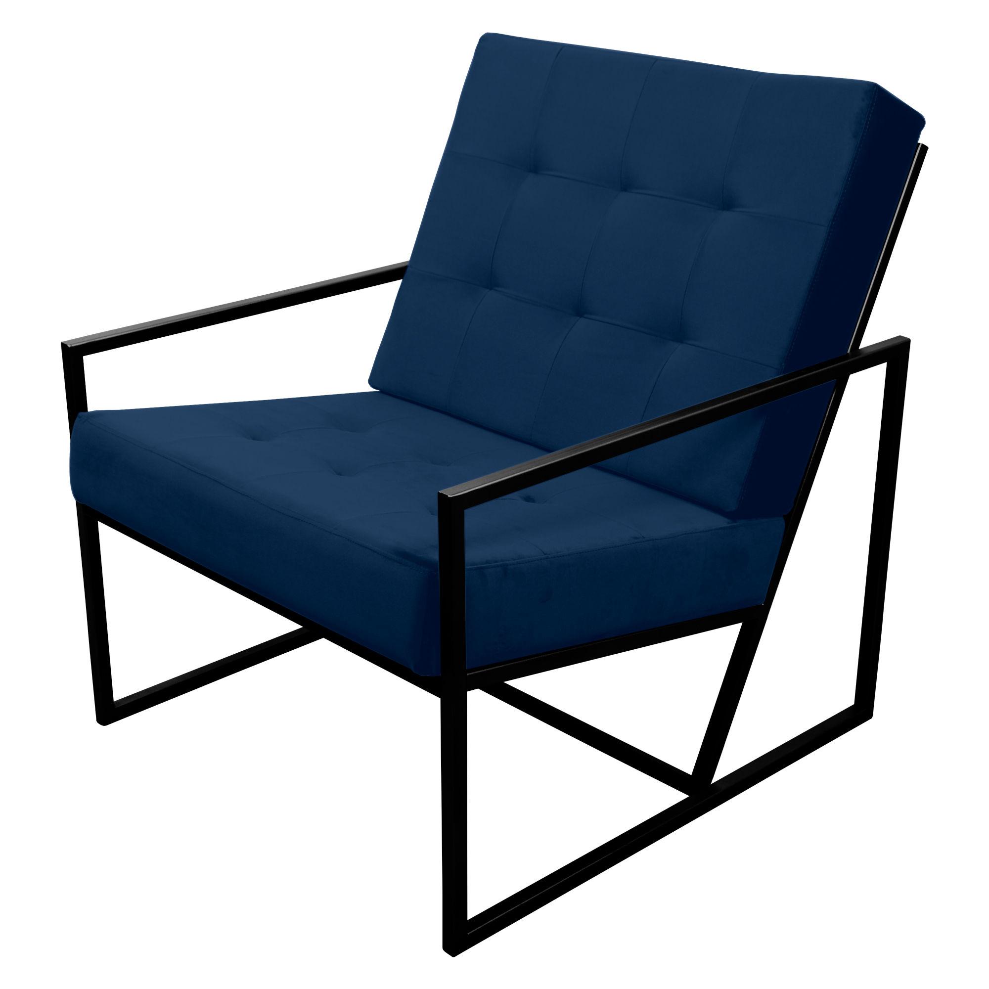 Poltrona de ferro preto com tecido azul