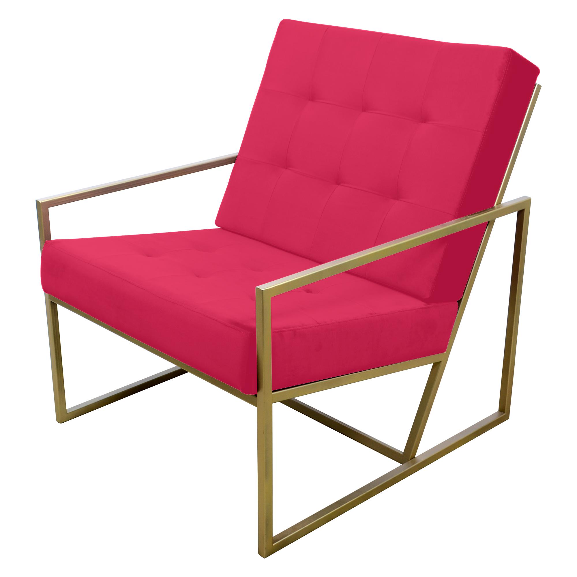 Poltrona de ferro dourado com tecido rosa