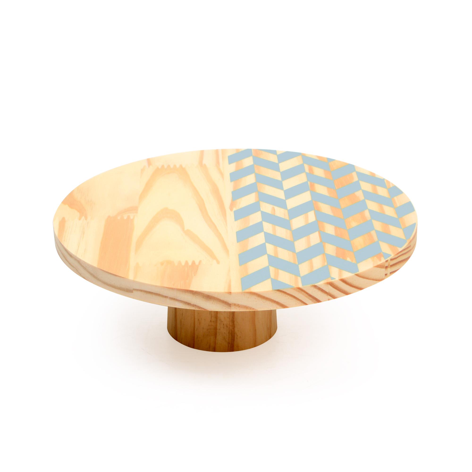 Boleira de madeira média Mosaico Azul