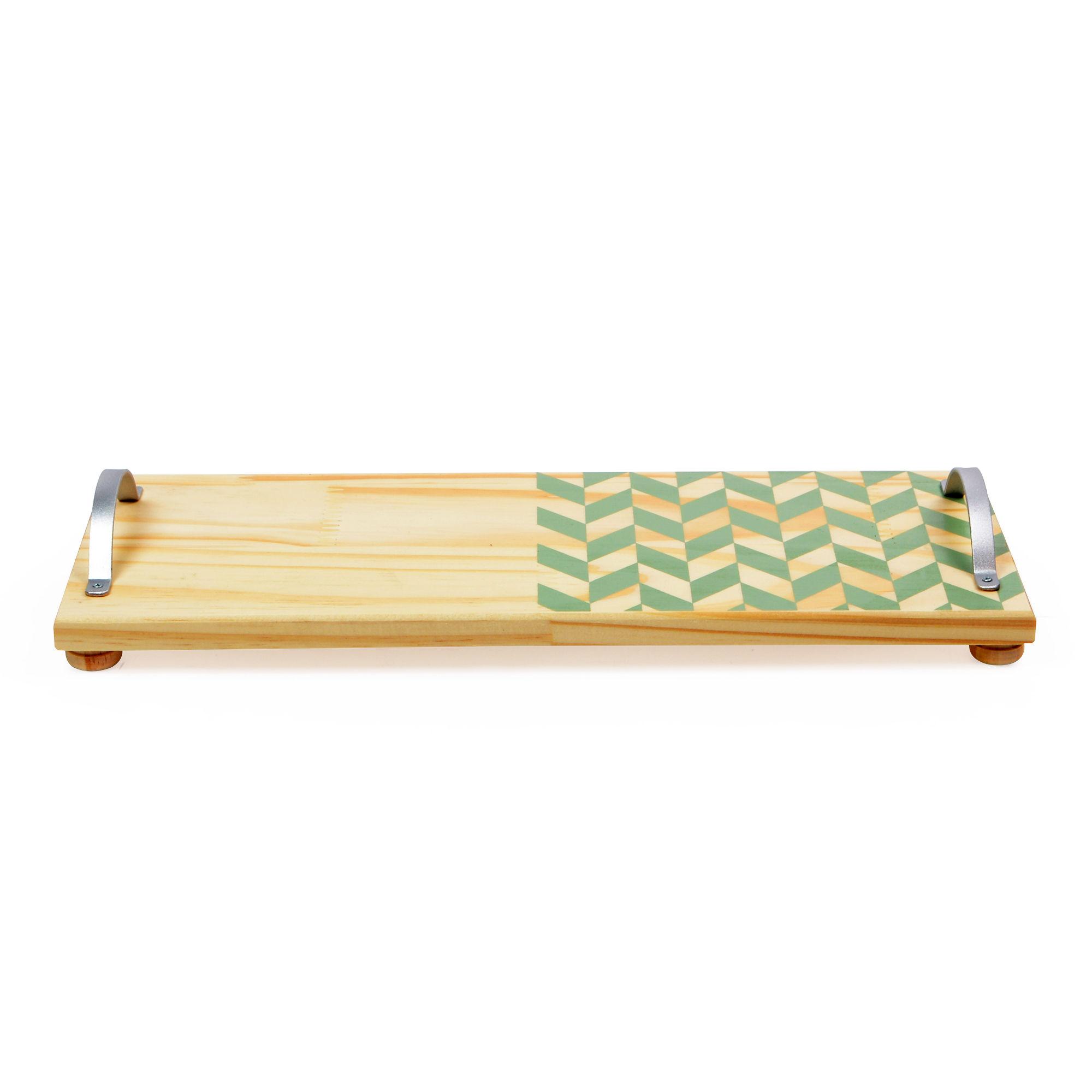 Bandeja de madeira com alça de ferro com mosaico Verde