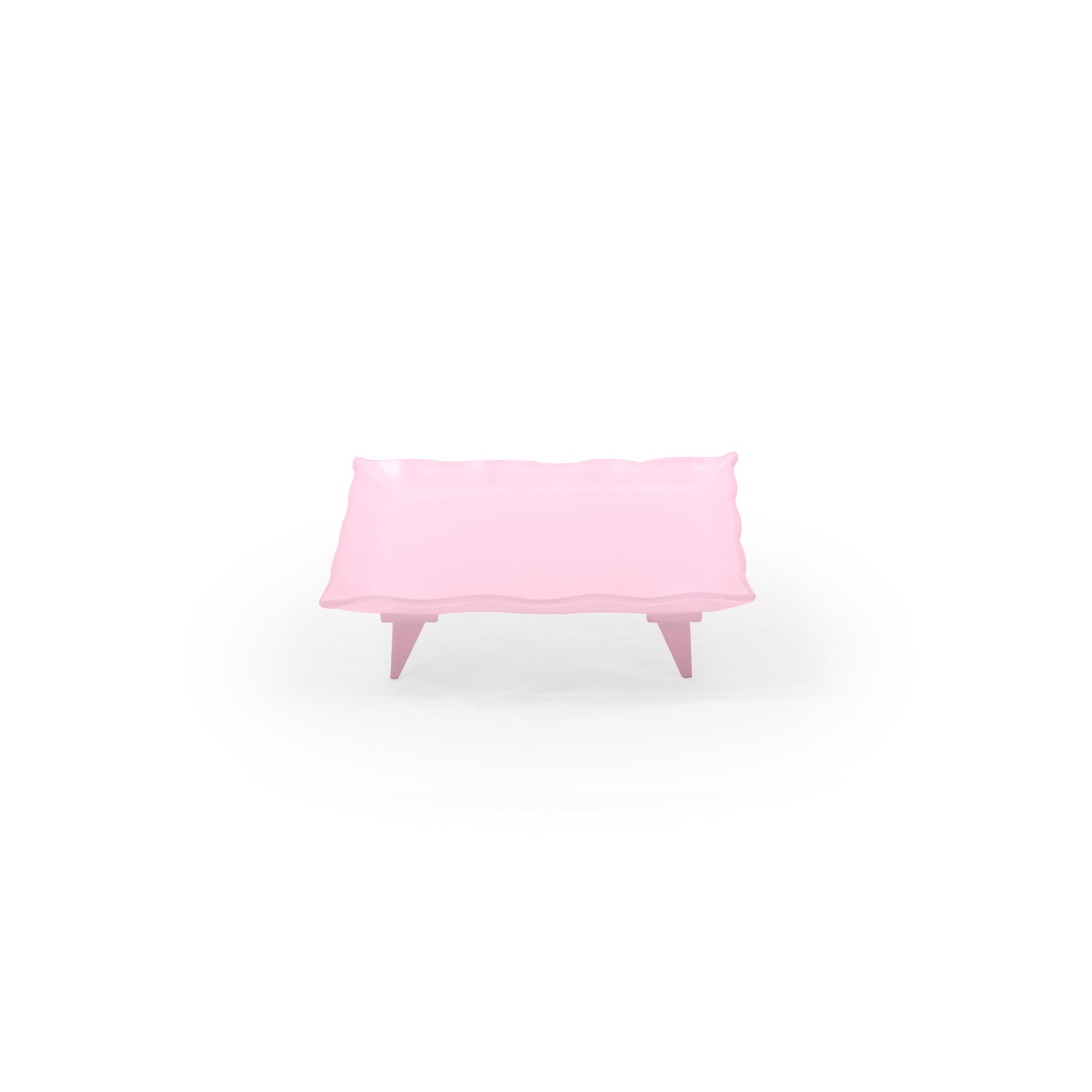 Travessa de vidro quadrada pequena rosa
