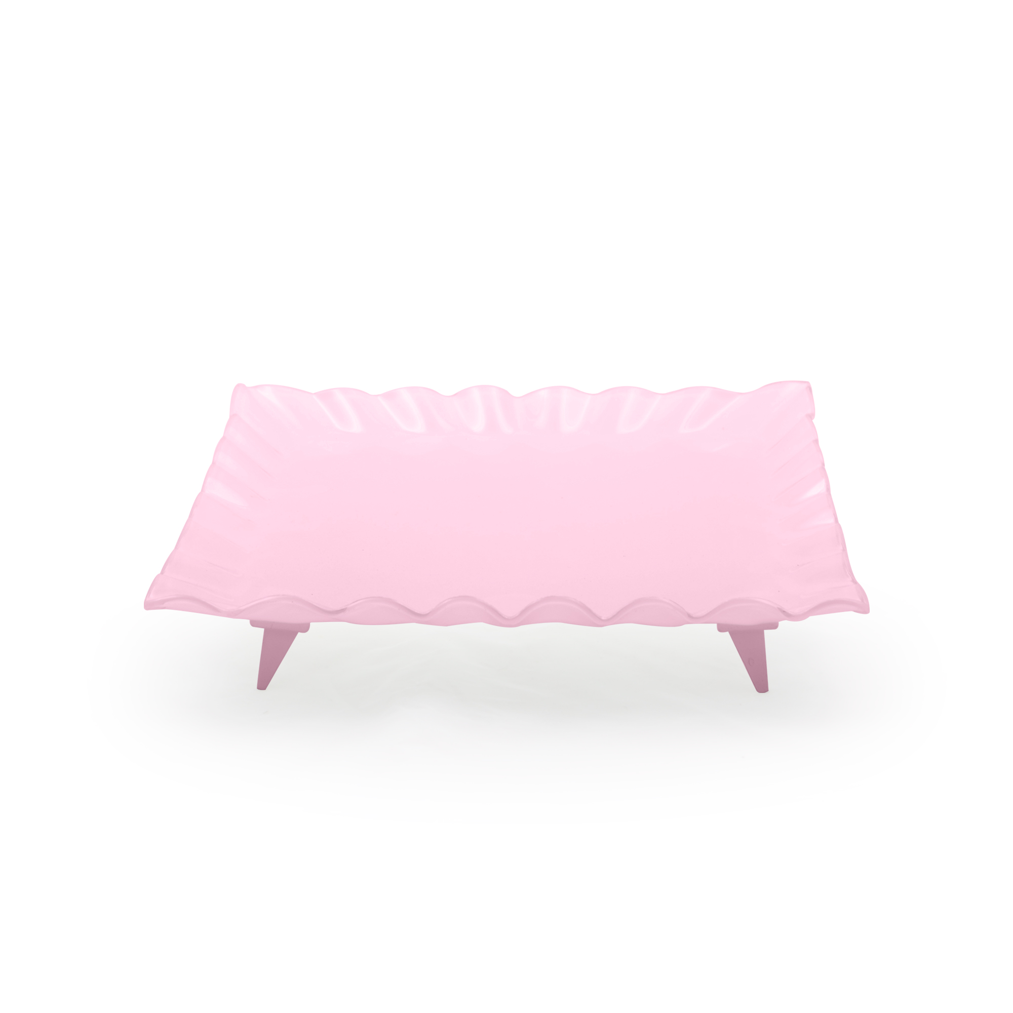Travessa de vidro quadrada grande rosa