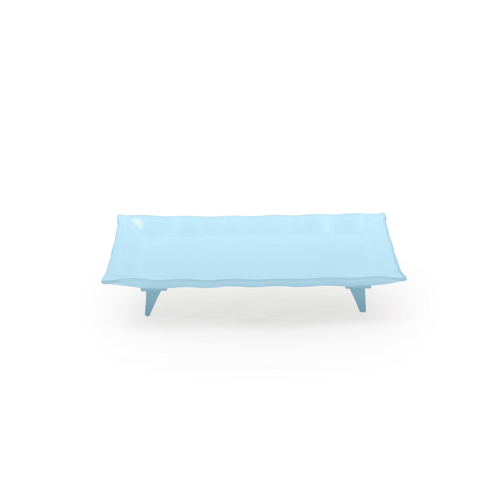 Travessa de vidro retangular pequena azul