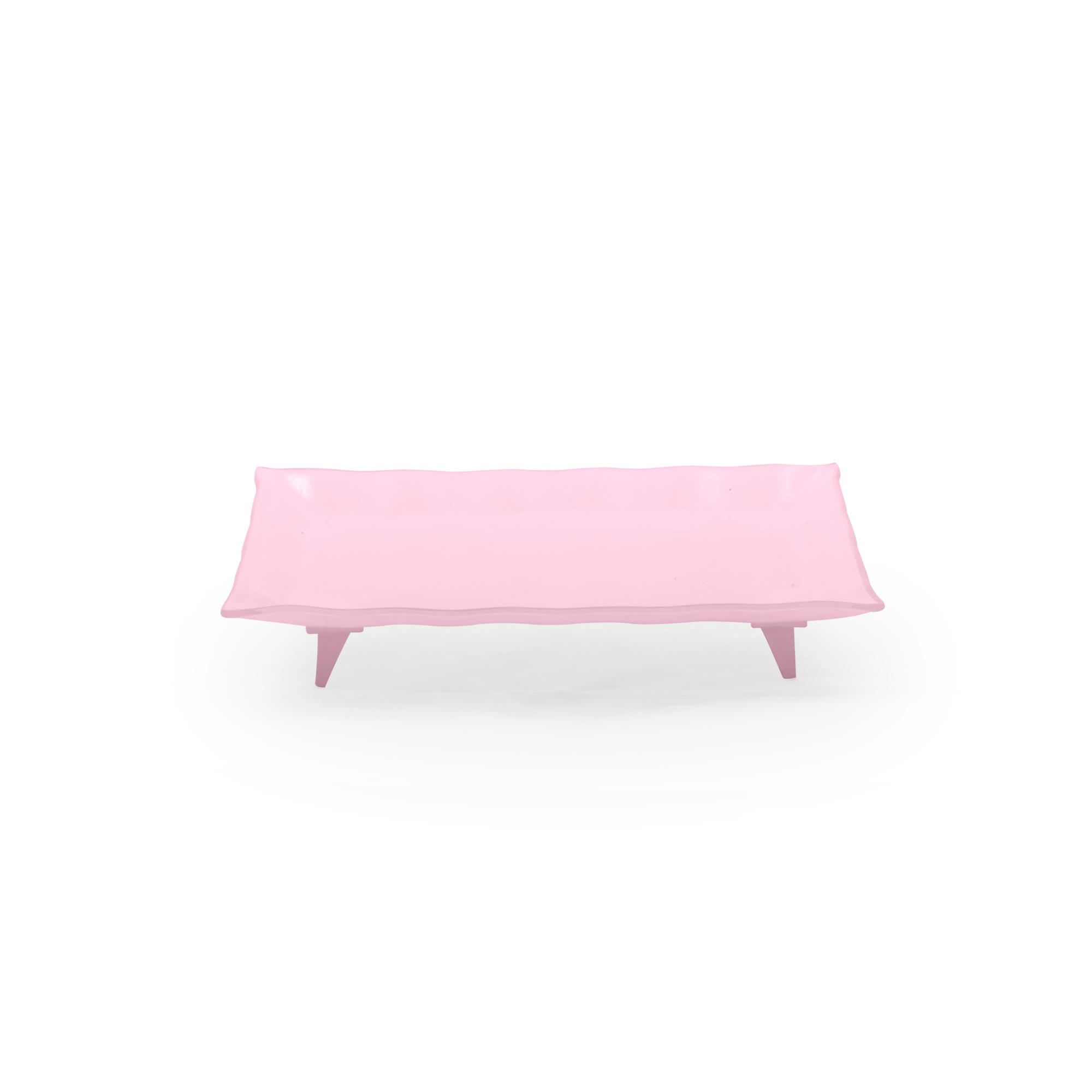 Travessa de vidro retangular pequena rosa