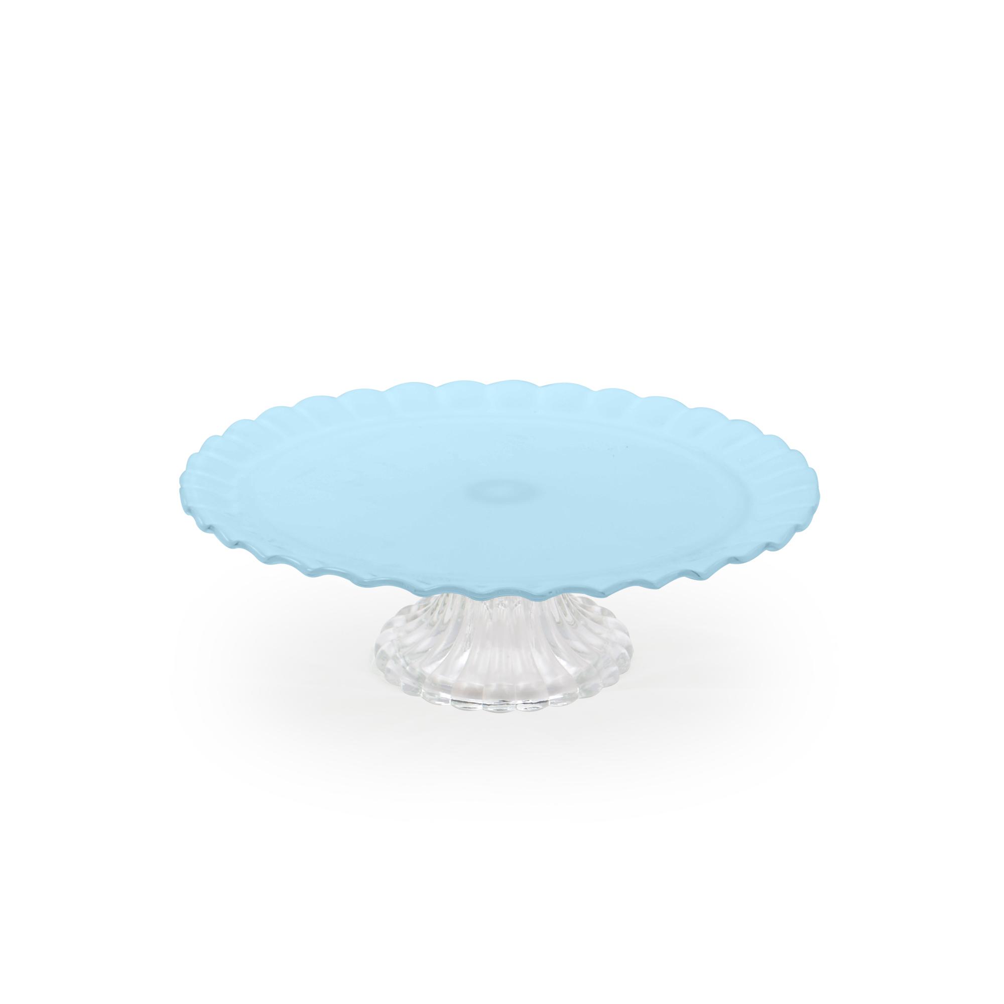Boleira de vidro média azul