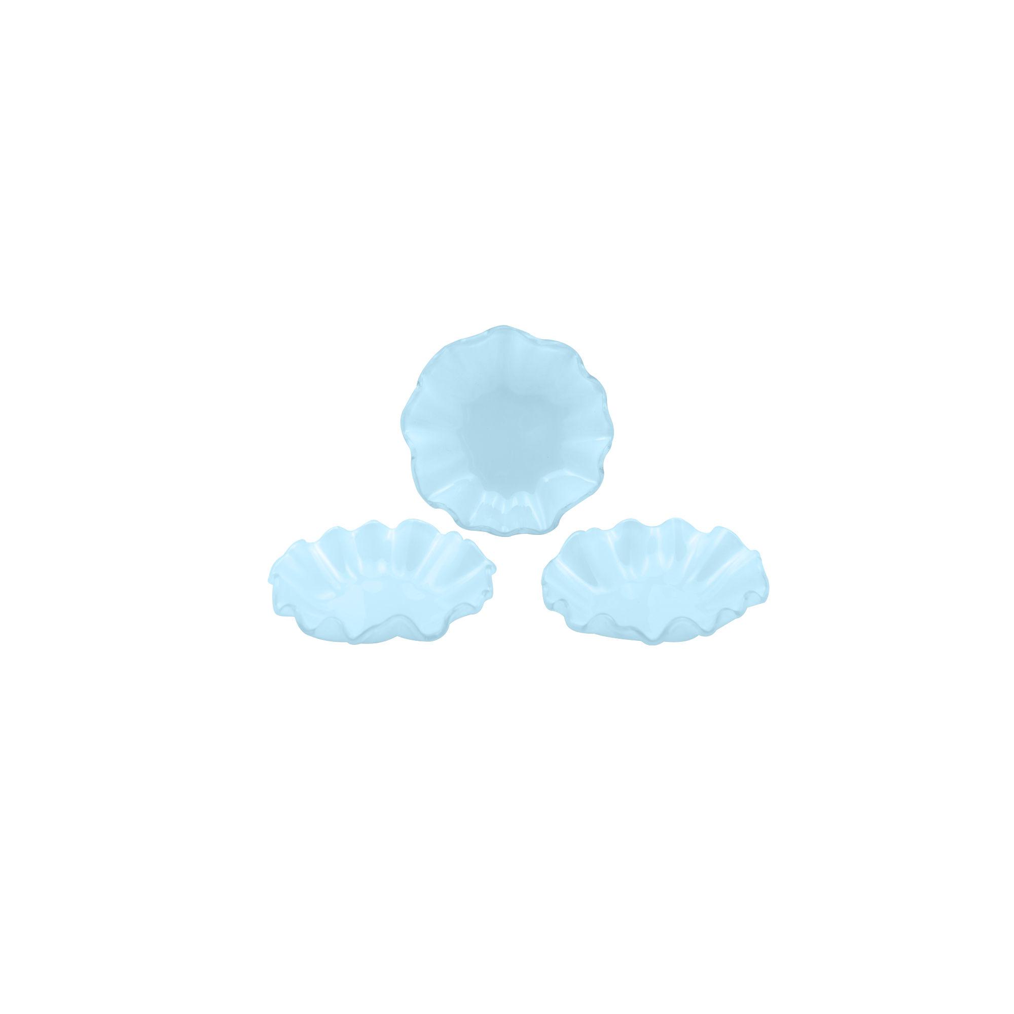 Conjunto 03 bowls pequeno de vidro azul
