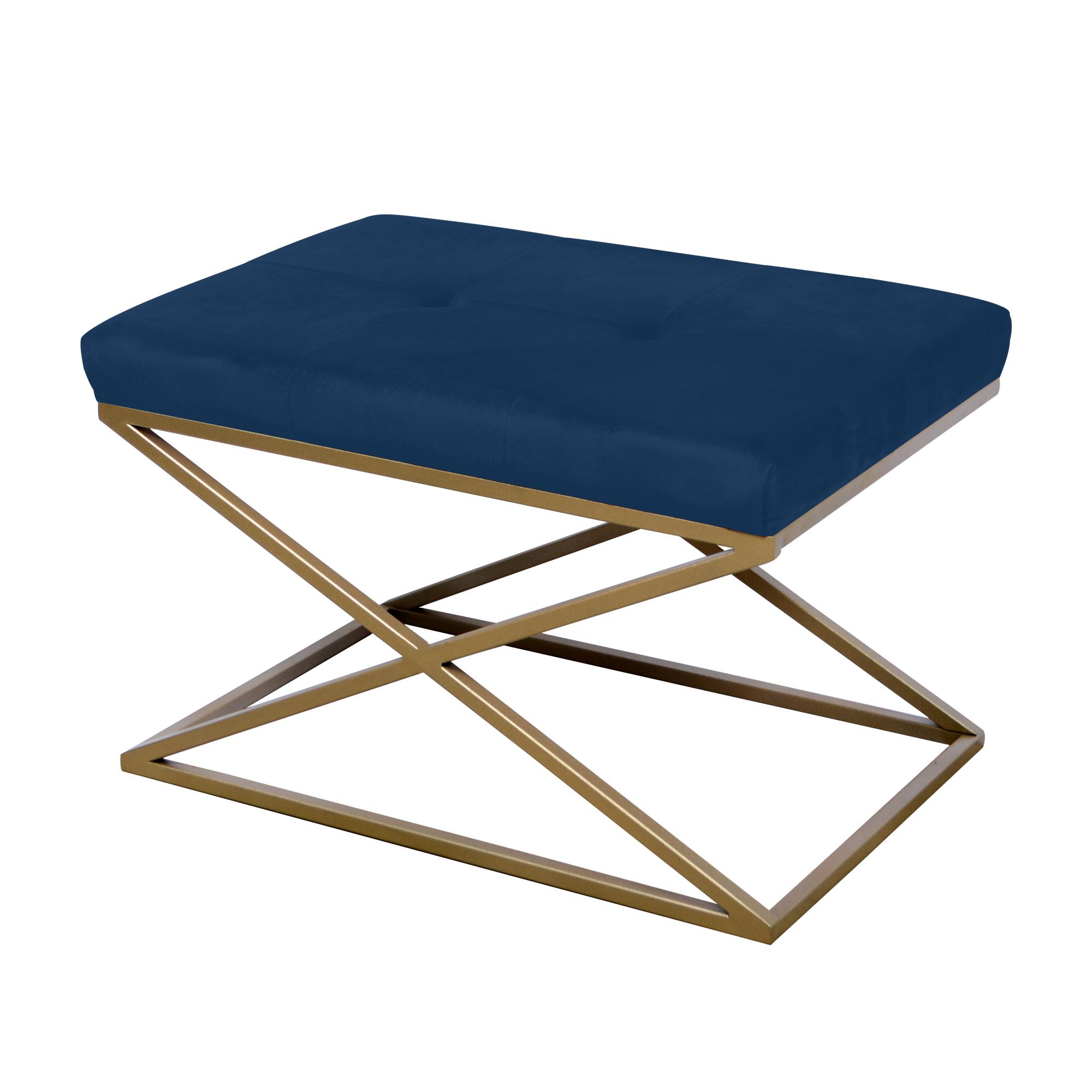 Peseira de ferro dourado com tecido azul