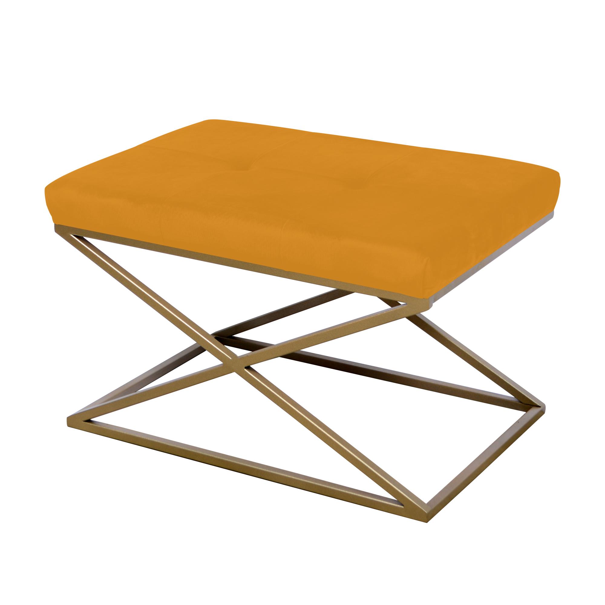Peseira de ferro dourado com tecido laranja