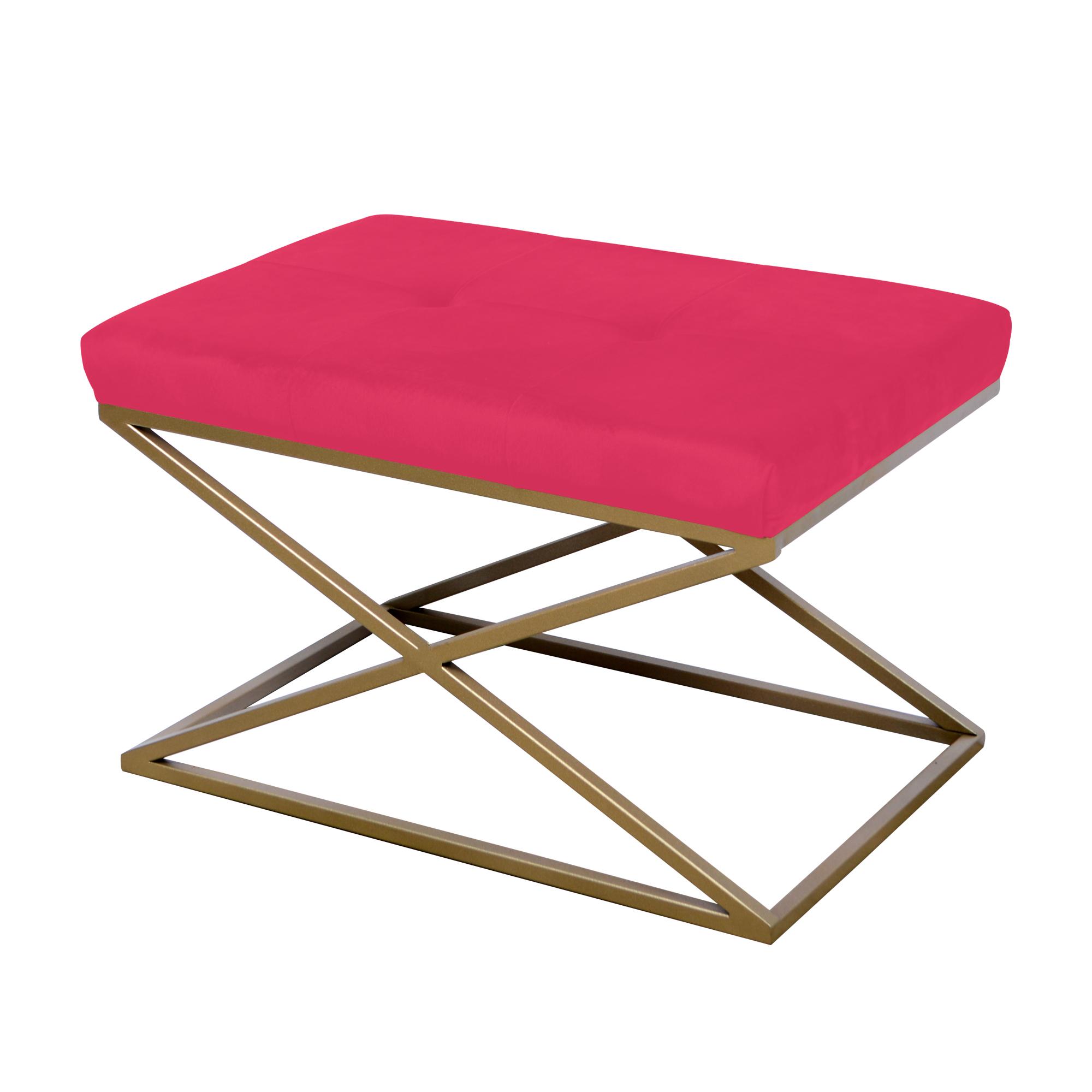 Peseira de ferro dourado com tecido rosa