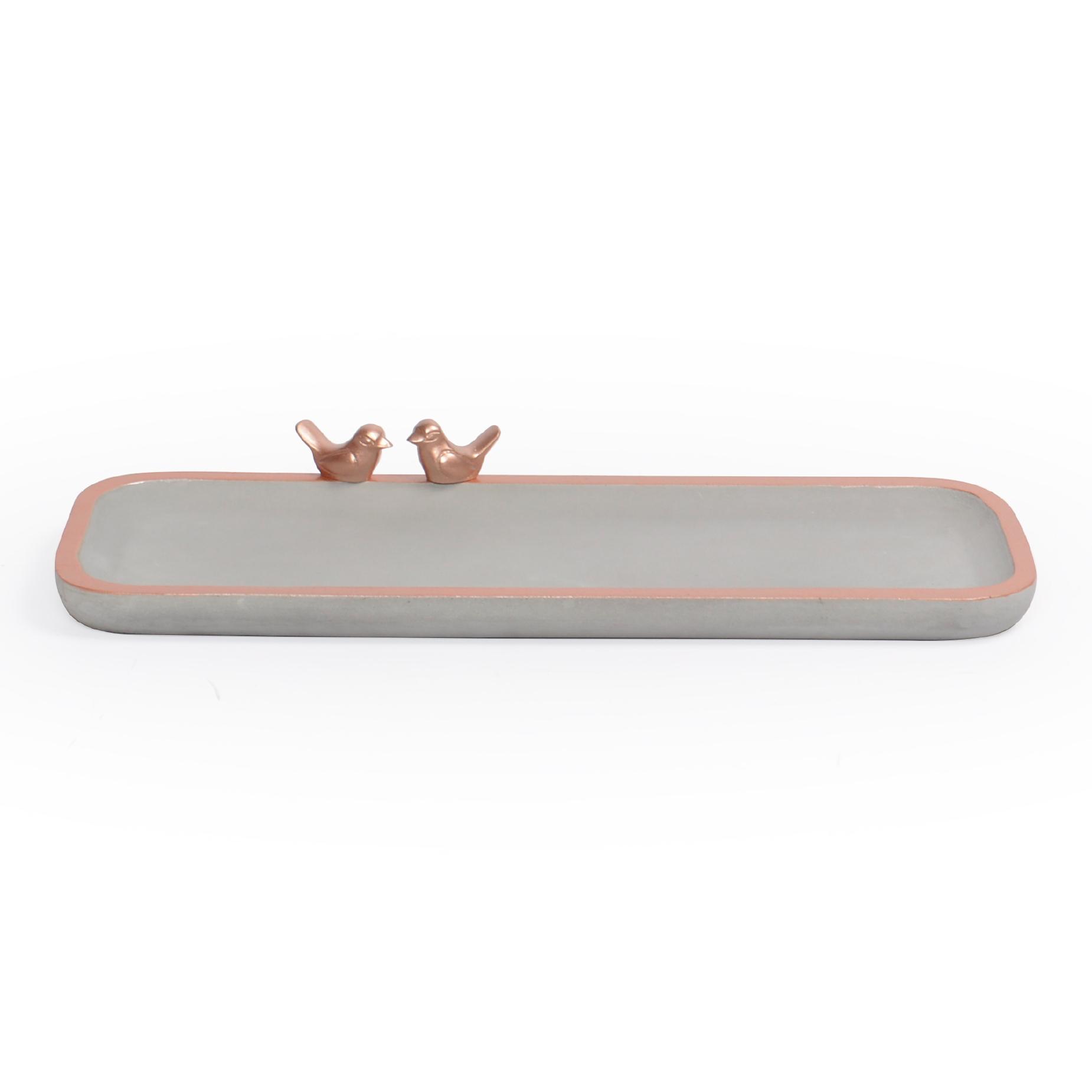 Bandeja retangular Ovalada de concreto com borda Cobre e Pássaro