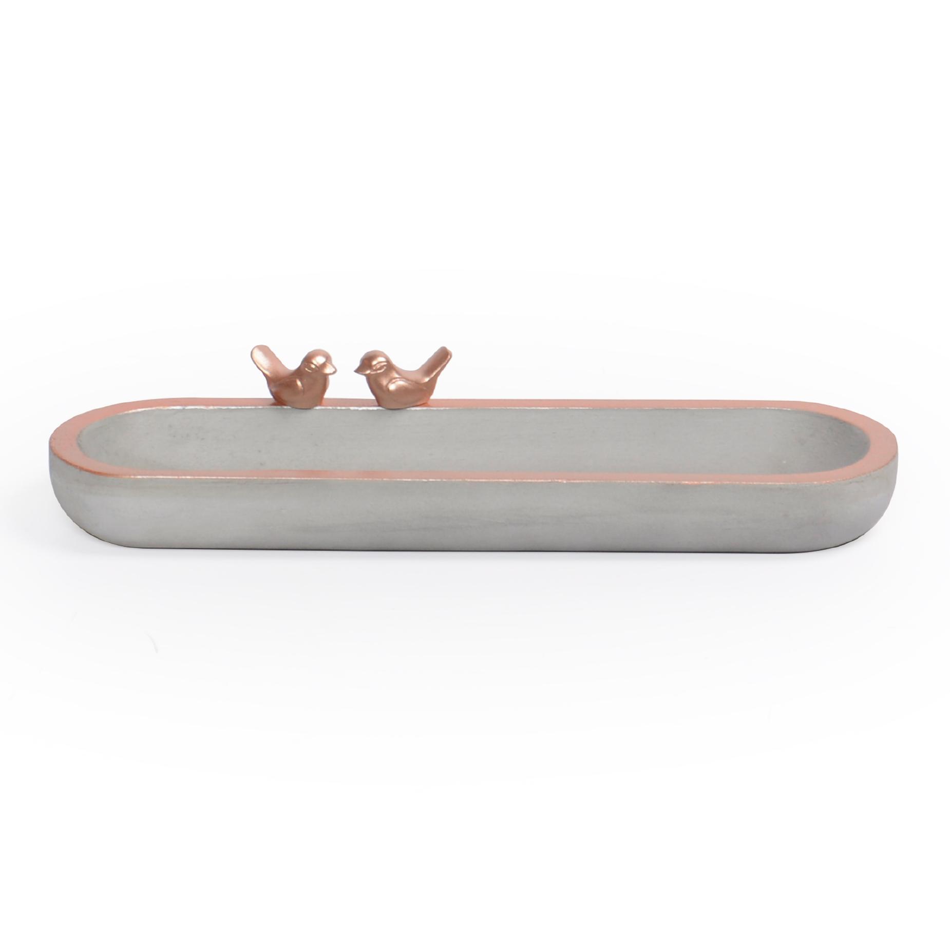 Bandeja oval de concreto com borda Cobre e Pássaro