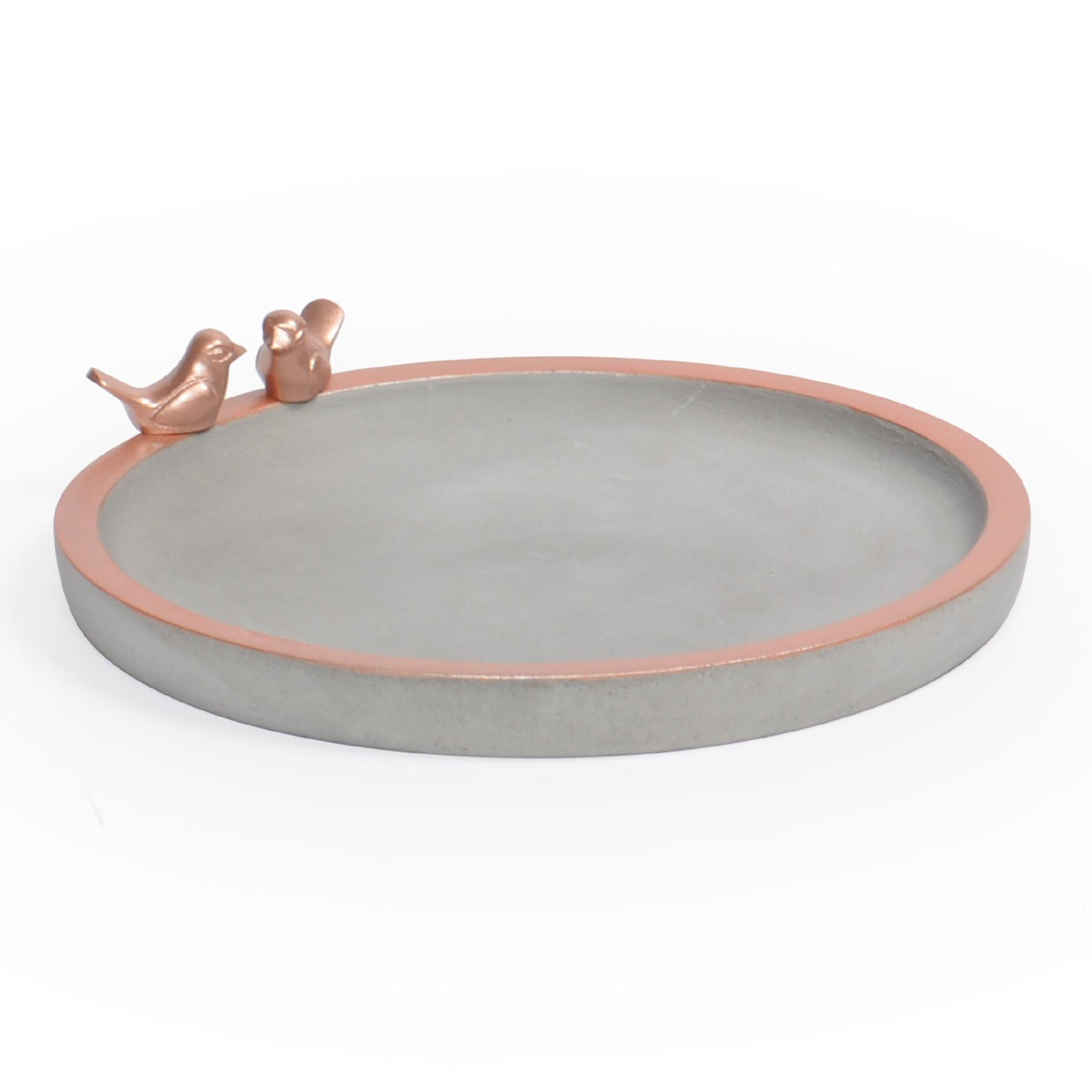 Bandeja redonda de concreto com borda Cobre e pássaros