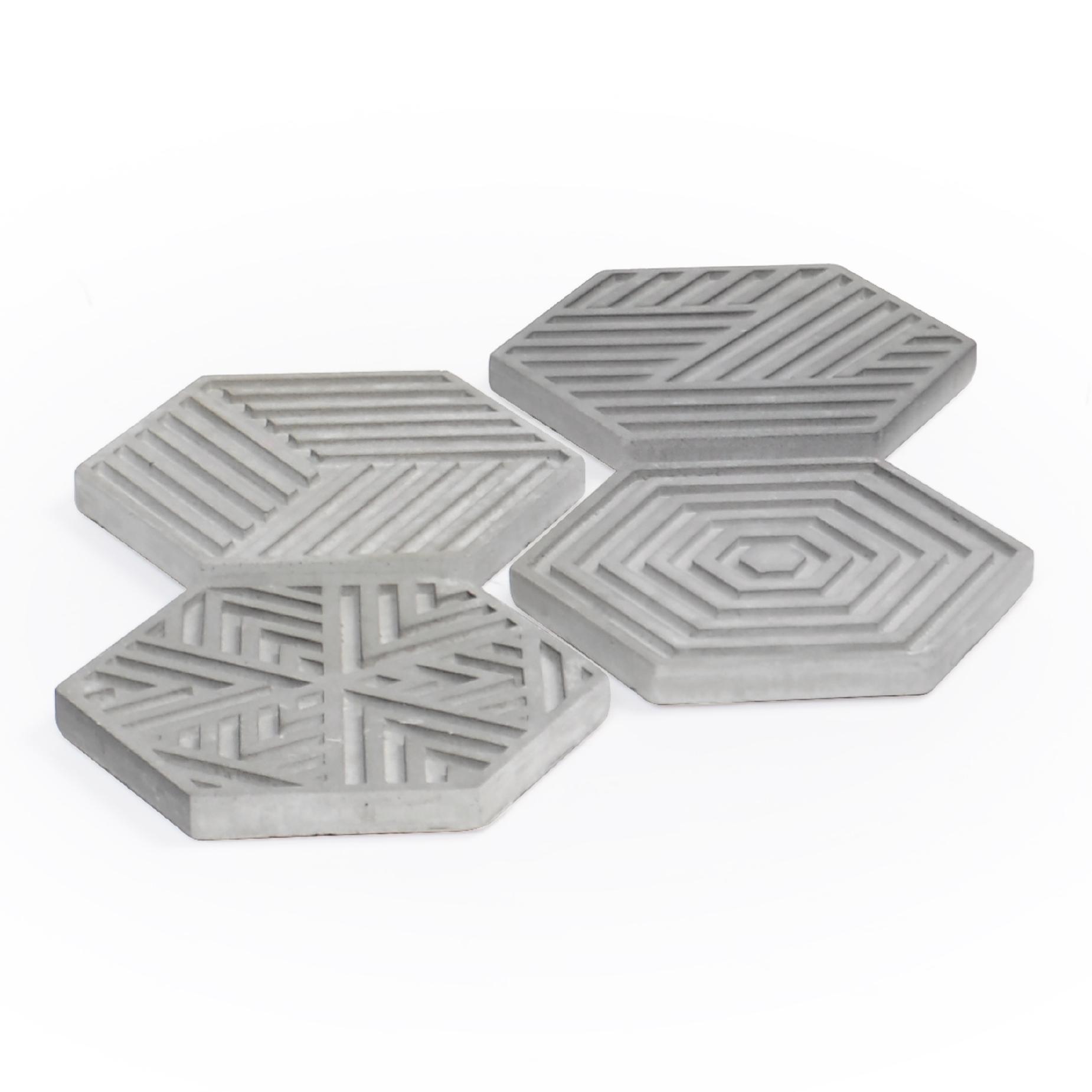 Conjunto de 04 porta Copos Hexágonal Concreto