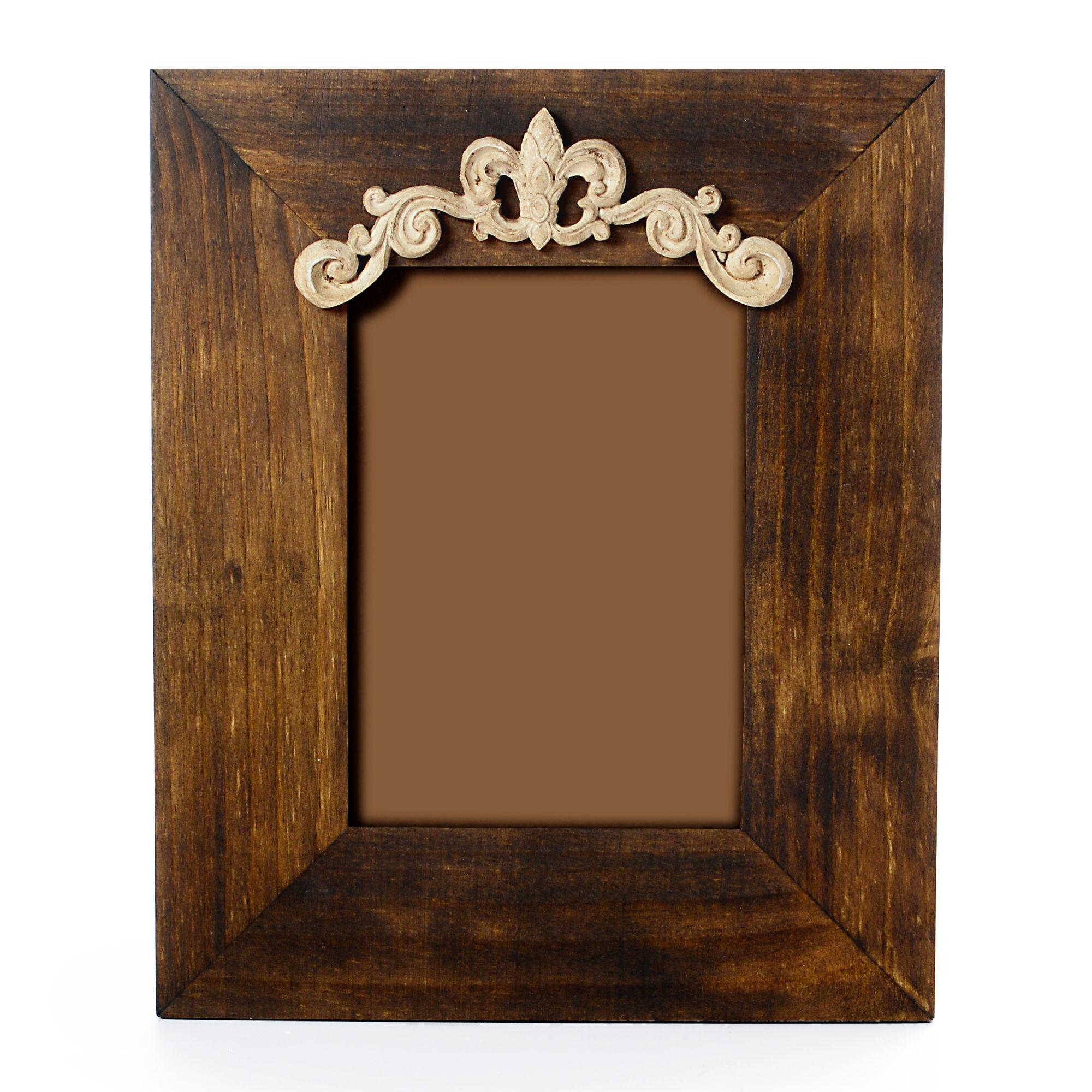Porta retrato de Madeira com aplique de resina