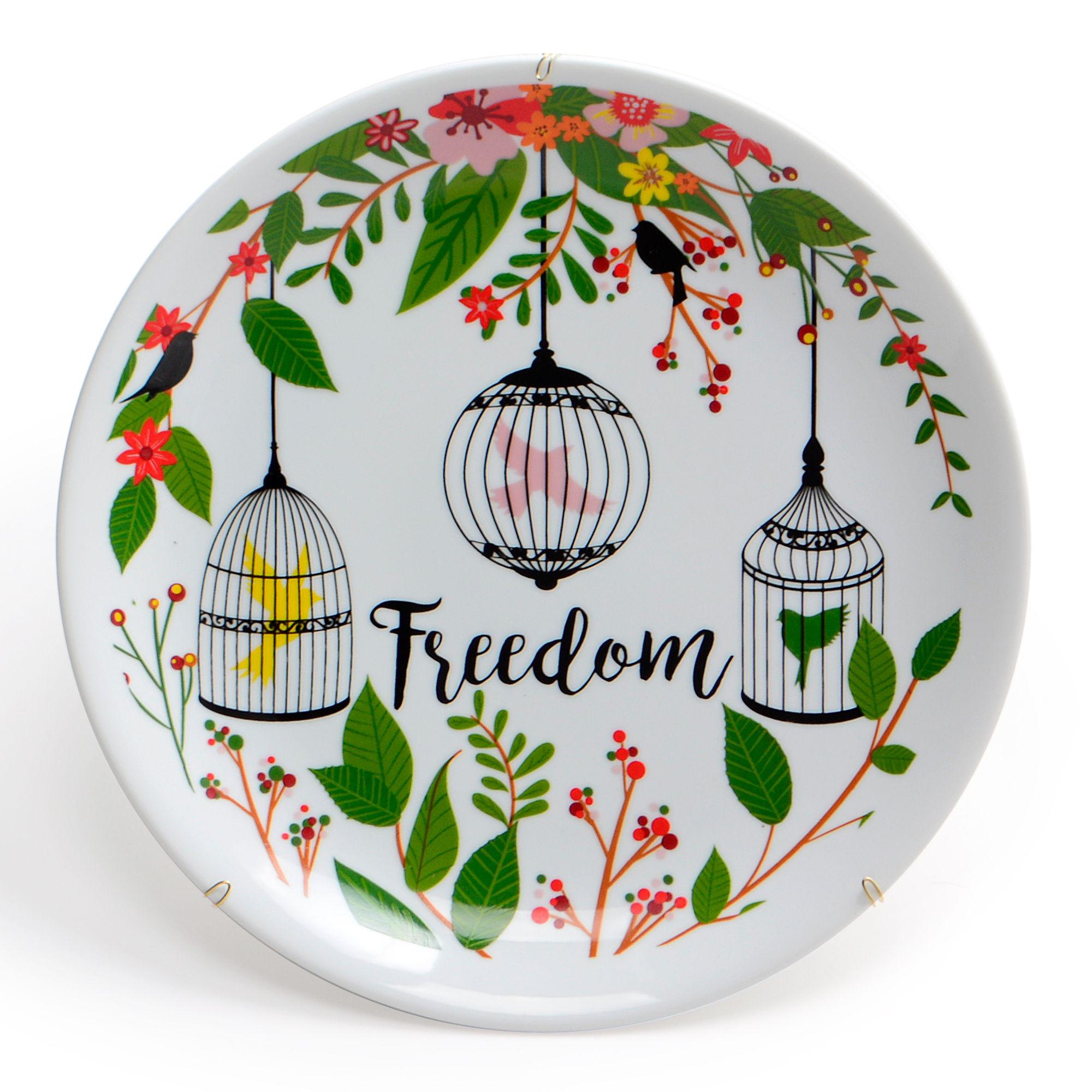 Prato de parede de porcelana Freedom