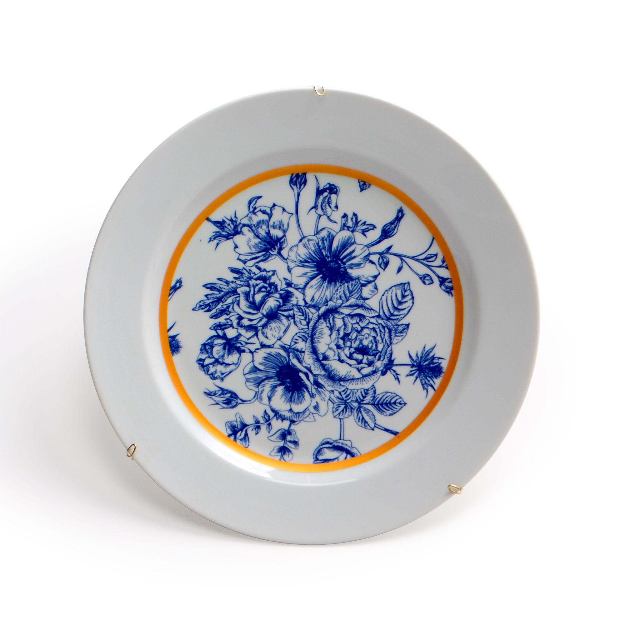 Prato de parede de porcelana Floral Azul