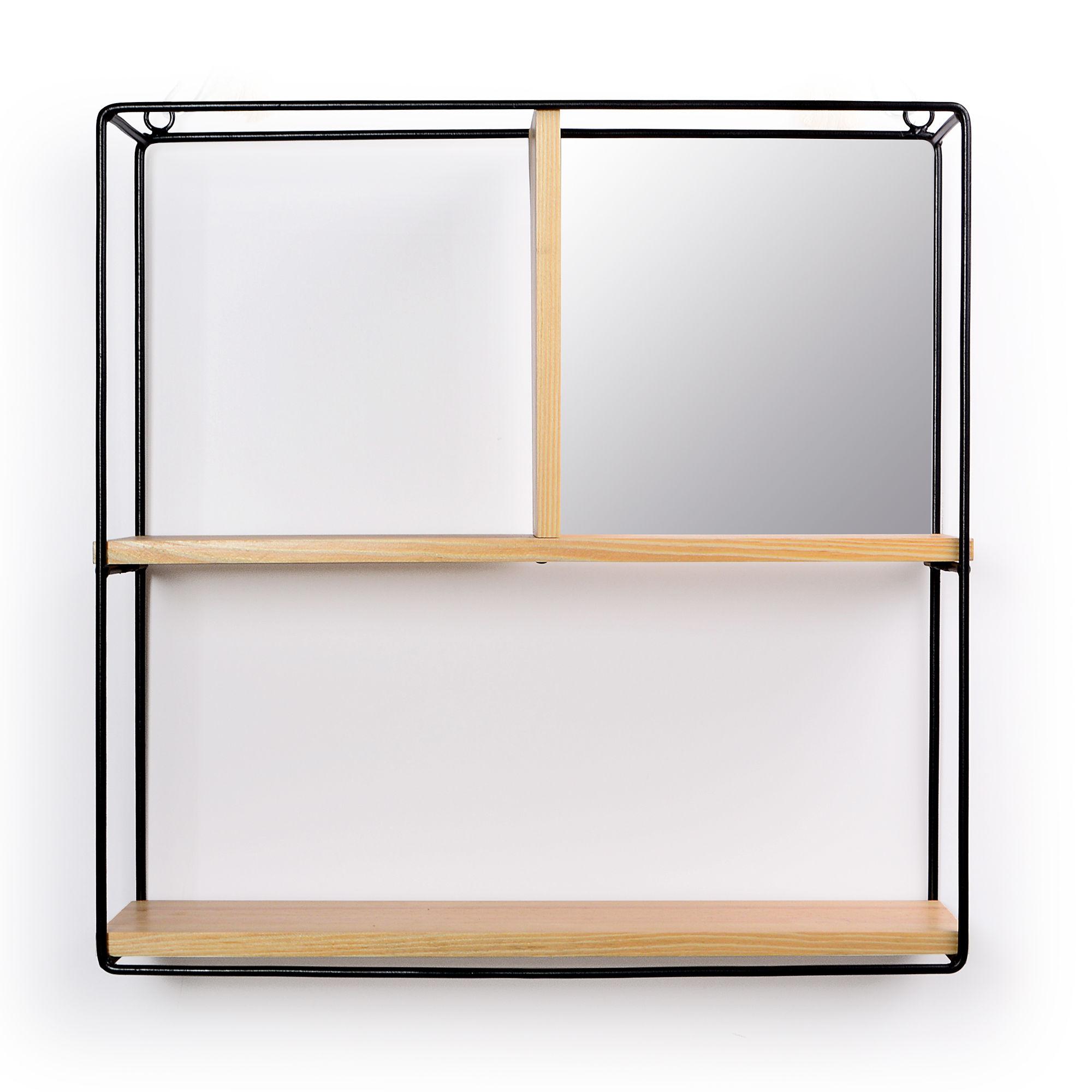 Prateleira Quadrada de Parede com Espelho