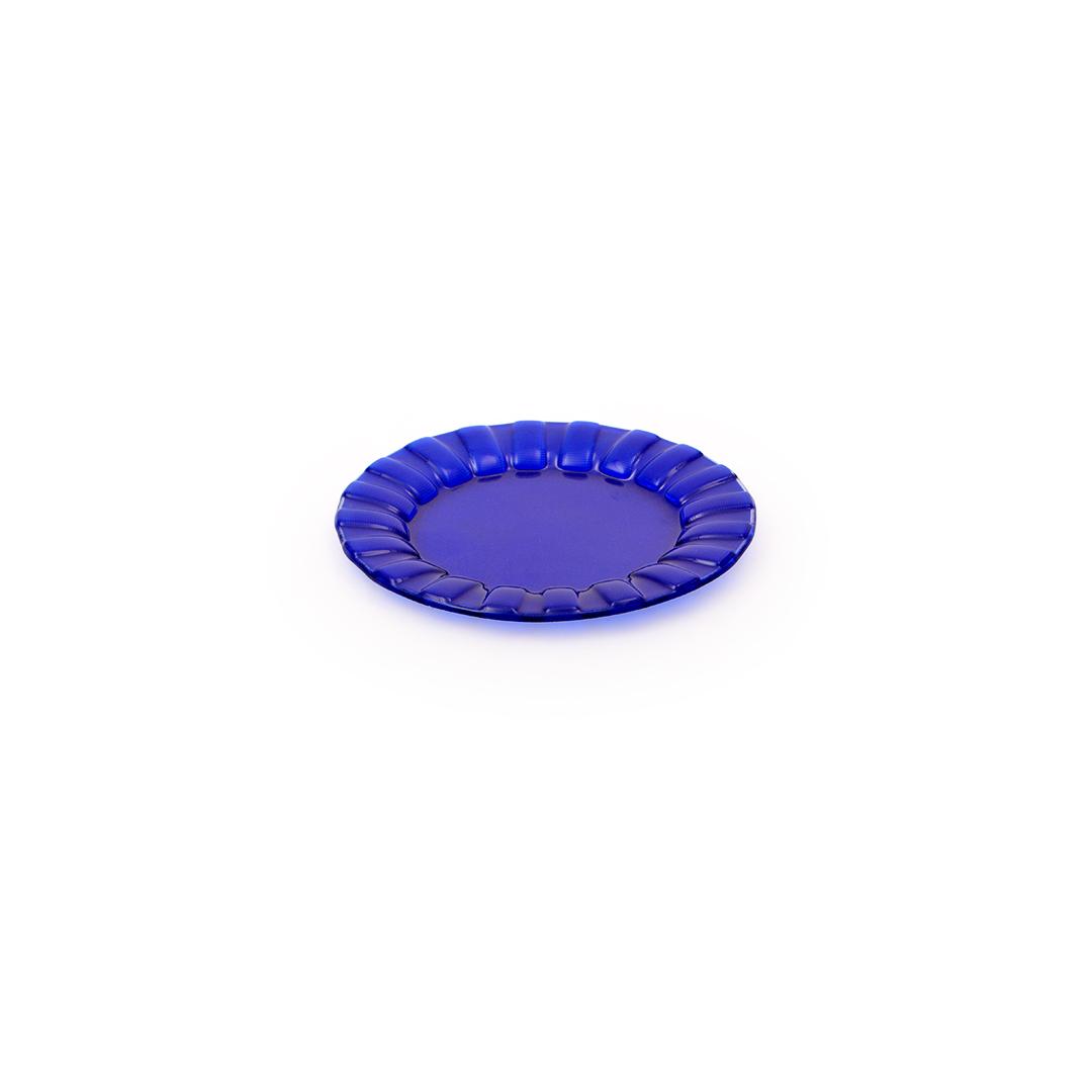 Prato de sobremesa de vidro Azul