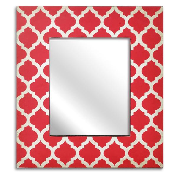 Espelho grande com moldura Vermelha