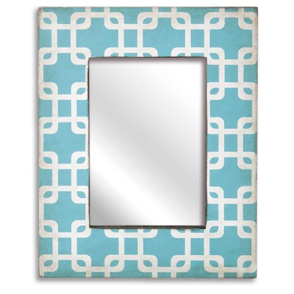 Espelho médio com moldura Azul