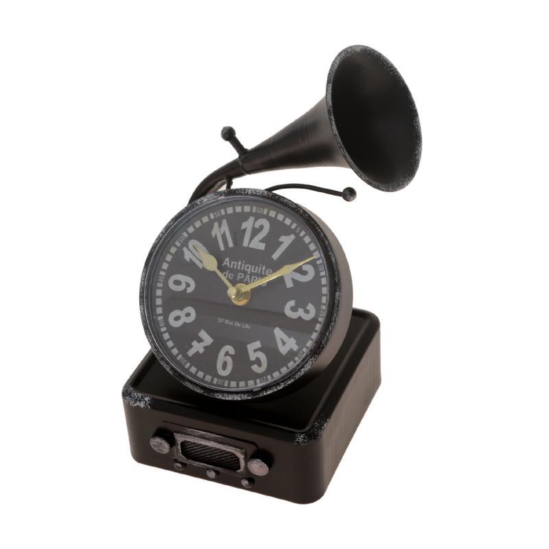 Miniatura de vitrola vintage com relógio