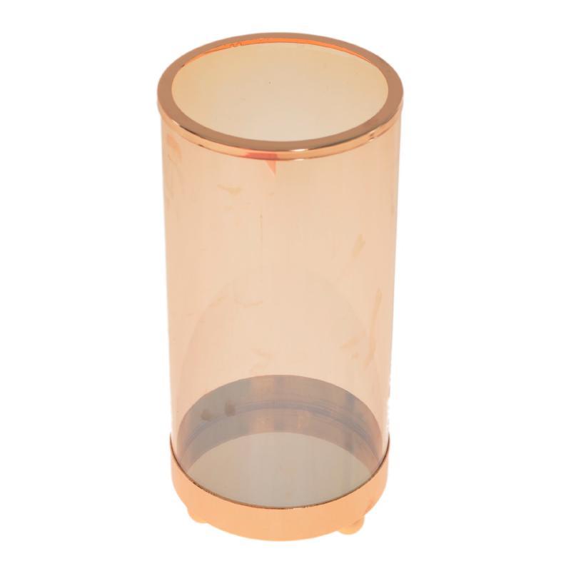 Porta vela de vidro Âmbar grande