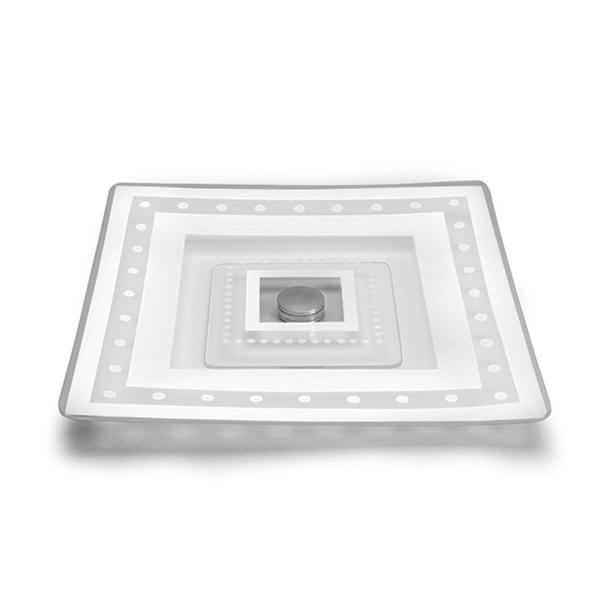Prato giratório de vidro quadrado