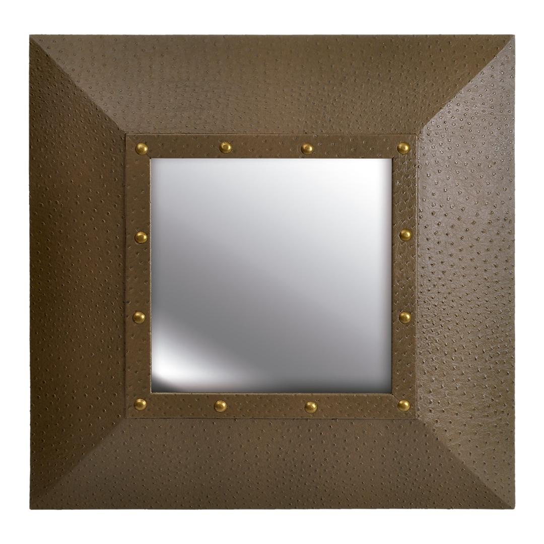 Espelho quadrado de Couro