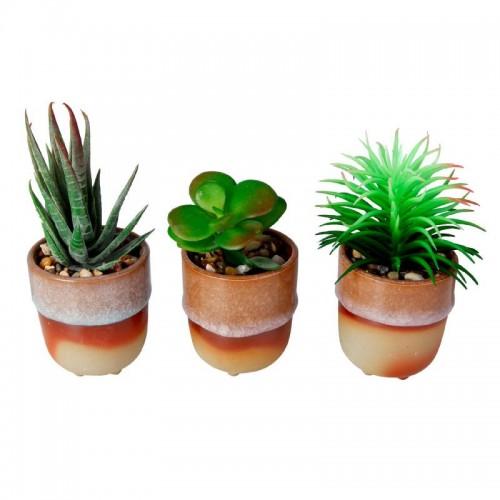 Vaso de cerâmica com planta artificial