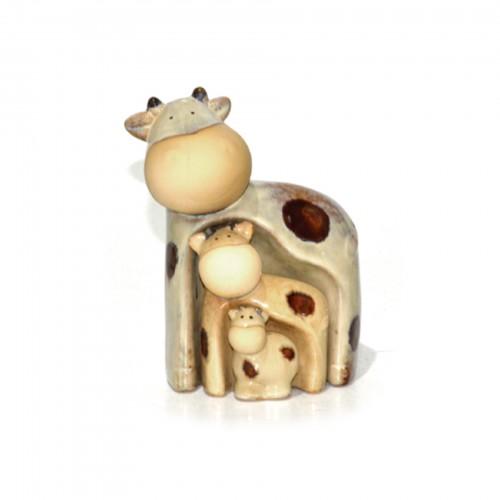 Conjunto de 03 Vacas de cerâmica decorativo