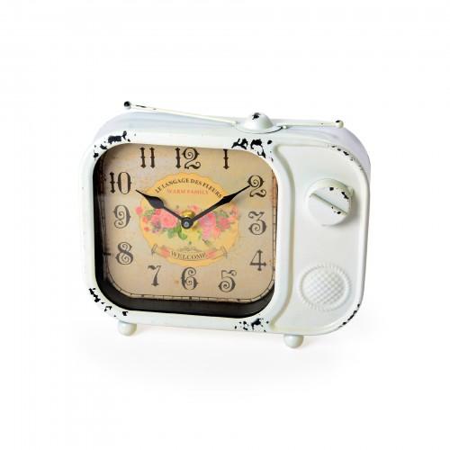 Miniatura de televisão vintage com relógio
