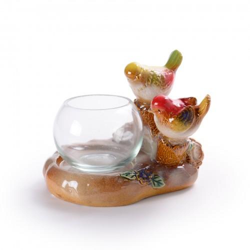 Cachepô de vidro com base de cerâmica Pássaro