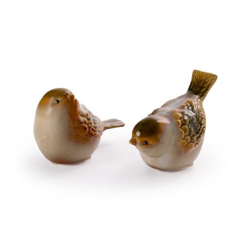 Conjunto 02 Pássaros de cerâmica