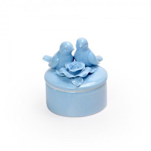 Potiche de cerâmica Pássaros Azul