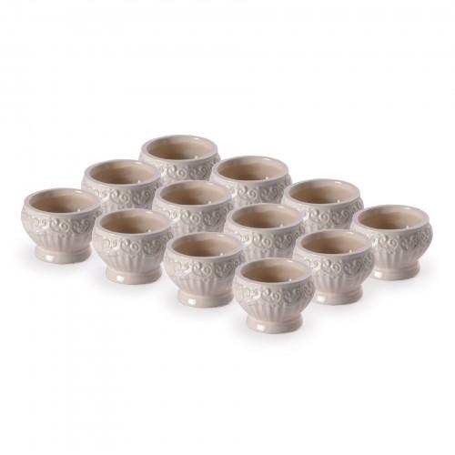 Conjunto com 12 cachepôs de cerâmica Branco
