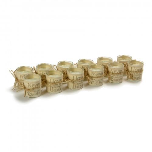 Conjunto com 12 velas aromatizadas em porta vela de vidro