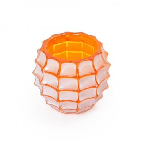 Porta vela de vidro laranja