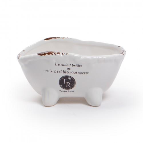 Mini cachepô de cerâmica modelo banheira