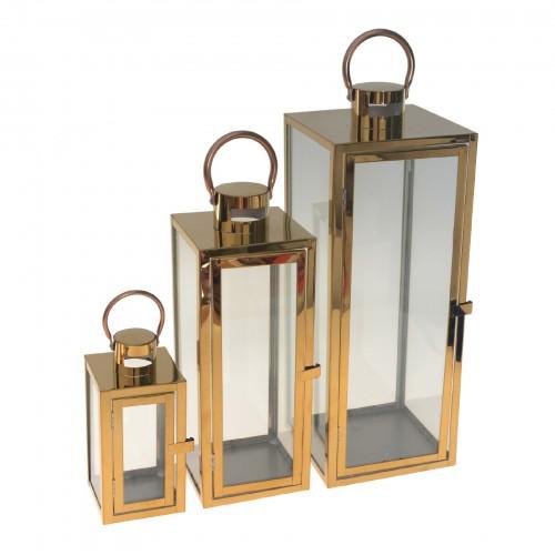 Conjunto com 03 lanternas Dourado