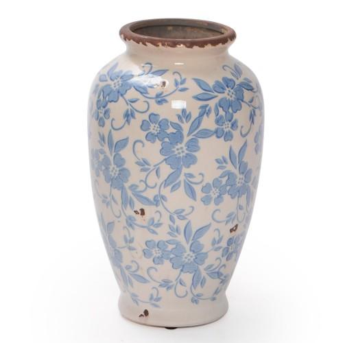 Vaso de cerâmica bojudo com estampa de Flores