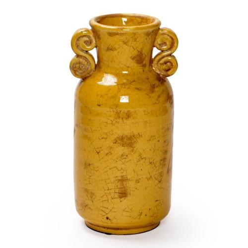 Vaso de cerâmica grande com alças Ocre