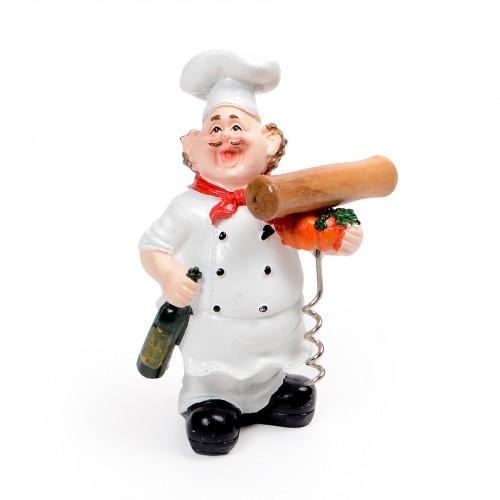 Cozinheiro com abridor de vinho