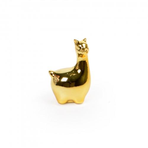 Mini Lhama de cerâmica Dourada