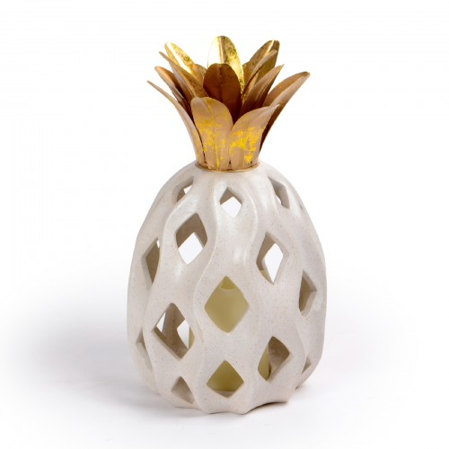 Abacaxi de cerâmica com suporte para Vela