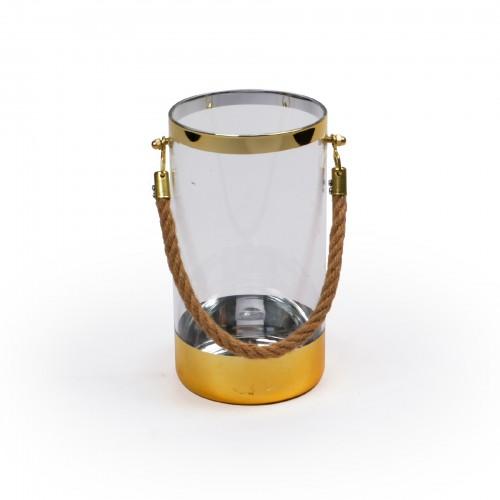 Lanterna de vidro Dourada
