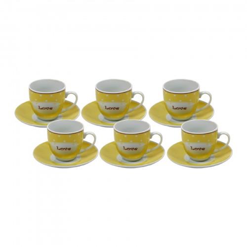 Jogo de xícaras de Chá Love Amarela
